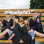 """23.08.2016        <br /> Over 300 students graduated from the Faculty of Arts Humanities and Social Sciences at the University of Limerick today. <br /> <br /> Attending the conferring ceremony were graduates, Evan Allen, Bachelor of Law, Tarbert Co. Kerry, Remy Horan, Co. Kerry, BA in Law and Accounting, Rebecca Mooney, Blackrock Co. Dublin, Bachelor of Architecture and Mark Livingstone, Bradfield Co. Mayo, Bachelor of Architecture. Picture: Alan Place.<br /> <br /> <br /> <br /> <br /> UL Graduates Employability remains consistently high as they are 14% more likely to be employed after Graduation than any other Irish University Graduate<br /> Each year, the Careers Service collects information about the 'First Destinations' of UL graduates. During the April/May period following graduation, we survey those who have completed full-time undergraduate and postgraduate courses for details on their current status. This current survey was conducted nine months after graduation and focuses on the employment and further study patterns of the graduates of 2015. A total of 2,933 graduates were surveyed and a response rate of 87% was achieved. <br /> As the University of Limerick commences four days of conferring ceremonies which will see 2568 students graduate, including 50 PhD graduates, UL President, Professor Don Barry highlighted the continued demand for UL graduates by employers; """"Traditionally UL's Graduate Employment figures trend well above the national average. Despite the challenging environment, UL's graduate employment rate for 2015 primary degree-holders is now 14% higher than the HEA's most recently-available national average figure which is 58% for 2014"""". The survey of UL's 2015 graduates showed that 92% are either employed or pursuing further study."""" Picture: Alan Place"""