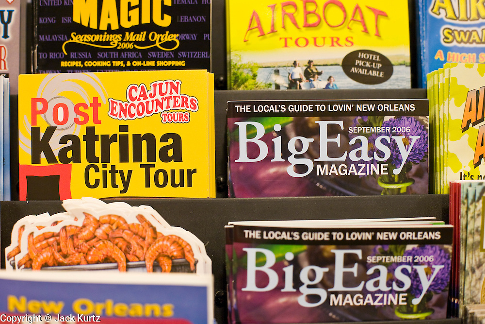 20 SEPTEMBER 2006 - NEW ORLEANS, LOUISIANA: Tourist brochures including tours of the destruction wrought by Hurricane Katrina in a hotel in New Orleans. Many neighborhoods were abandoned after flooding from nearby canals after Hurricane Katrina inundated this part of the city.  Photo by Jack Kurtz / ZUMA Press