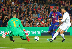May 6, 2018 - Barcelona, Catalonia, Spain - Cristiano Ronaldo, Marc Andre Ter Stegen and Samuel Umtiti during the match between FC Barcelona and Real Madrid CF, played at the Camp Nou Stadium on 06th May 2018 in Barcelona, Spain.  Photo: Joan Valls/Urbanandsport /NurPhoto. (Credit Image: © Joan Valls/NurPhoto via ZUMA Press)