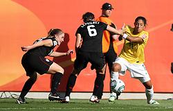 10.07.2011, Glückgas Stadion, Dresden,  GER, FIFA Women Worldcup 2011, Viertelfinale , Brasil (BRA) vs USA (USA)  im Bild   .Cristiane (BRA) gegen Rachel Buehler und Amy Le Peilbet (USA)  .//  during the FIFA Women Worldcup 2011, Quarterfinal, Germany vs Japan  on 2011/07/10, Arena im Allerpark , Wolfsburg, Germany.  .EXPA Pictures © 2011, PhotoCredit: EXPA/ nph/  Hessland       ****** out of GER / CRO  / BEL ******