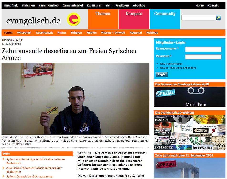 "Screengrab of ""Syrian revolution: refugees in Lebanon"" published in evangelisch.de"