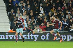 West Ham's Kevin Nolan celebrates his goal with West Ham's Cheikhou Kouyate - Photo mandatory by-line: Dougie Allward/JMP - Mobile: 07966 386802 - 02/12/2014 - SPORT - Football - West Bromwich - The Hawthorns - West Bromwich Albion v West Ham United - Barclays Premier League