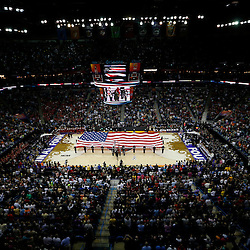 Apr 9, 2013; New Orleans, LA, USA; General view of the national anthem before the championship game in the 2013 NCAA womens Final Four between the Louisville Cardinals and the Connecticut Huskies at the New Orleans Arena. Mandatory Credit: Derick E. Hingle-USA TODAY Sports