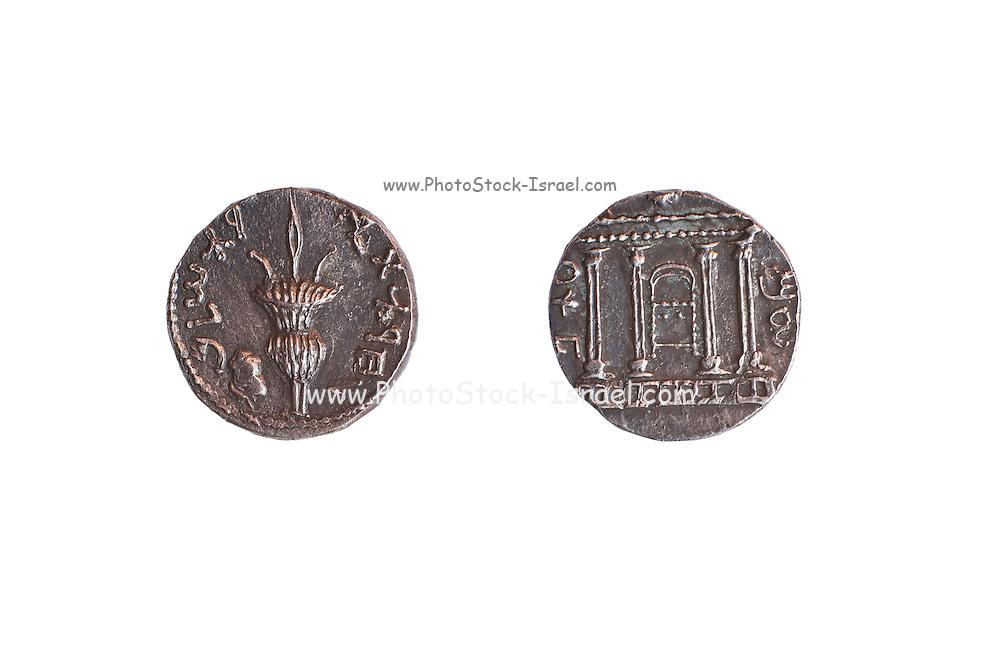 Silver coin from the Shimon Bar Kokhba revolt 132-135 AD. Left Lulav and Ethrog. Right temple facade