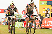 Barti Bucher and Doug Brown have a strong day, winning the grand masters category on stage 1 of the 2014 Absa Cape Epic Mountain Bike stage race held from Arabella Wines in Robertson, South Africa on the 24 March 2014<br /> <br /> Photo by Greg Beadle/Cape Epic/SPORTZPICS