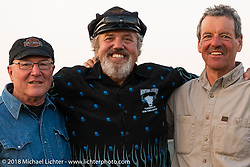 Antique bike restorer Carl Olsen with friends at the Spirit of Sturgis antique motorcycle flat track race at the historic Sturgis Half Mile during the 78th annual Sturgis Motorcycle Rally. Sturgis, SD. USA. Monday August 6, 2018. Photography ©2018 Michael Lichter.