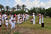 Israel, Haifa, The Kishon Park on the banks of the Kishon river. Outdoor Capoeira practice
