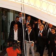 Real Madrid's Cristiano RONALDO with Turkish soccer Club president Yildirim DEMIROREN (FrotnL) came to istanbul, Turkey, 18 June 2011. Photo by TURKPIX