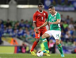Ireland's Jon Walters in action against Oman's Nadir Awadh Bashir Bait Mabrook - Mandatory by-line: Ken Sutton/JMP - 31/08/2016 - FOOTBALL - Aviva Stadium - Dublin,  - Republic of Ireland v Oman -