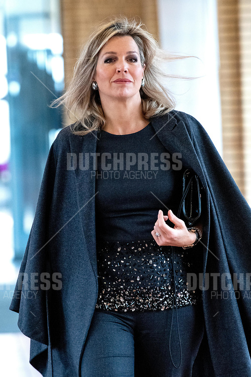 Koningin Maxima woont vrijdagochtend 8 februari in het Gemeentemuseum in Den Haag de Fintech for Inclusion Summit 2019 bij.