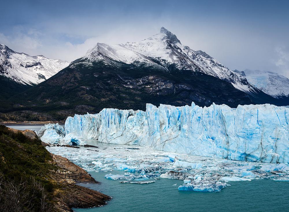 NATIONAL PARK LOS GLACIARES, ARGENTINA - CIRCA FEBRUARY 2019: View of the Glacier Perito Moreno, a famous landmark within the Los Glaciares National Park in Argentina