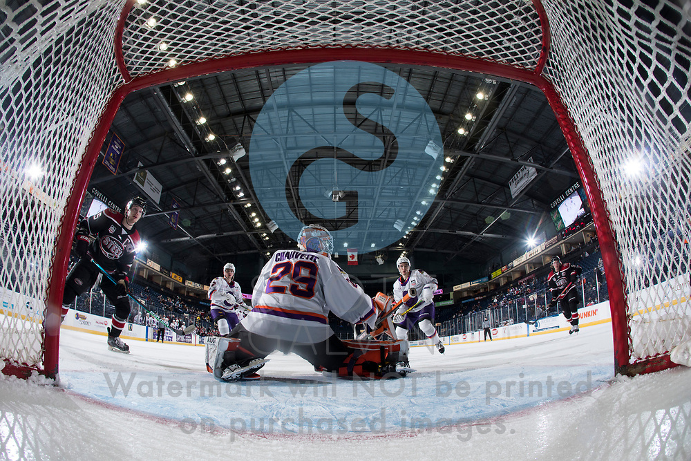 The Youngstown Phantoms defeat the Chicago Steel 5-2 at the Covelli Centre on January 23, 2021.<br /> <br /> Kyle Chauvette, goalie, 29; Mike Brown, defenseman, 2