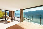 Interior, beautiful modern penthouse, comfortable bedroom