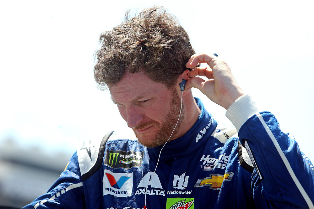 Apr 30, 2017; Richmond, VA, USA; NASCAR Cup Series driver Dale Earnhardt Jr. (88) gets ready to get into his car before the Toyota Owners 400 at Richmond International Raceway. Mandatory Credit: Peter Casey-USA TODAY Sports