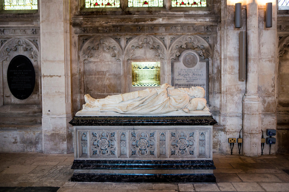 The tomb of Hadyn Keeton (1847–1921) a cathedral organist, buried inside Peterborough cathedral, one of the finest Norman cathedrals in England. Founded as a monastic community in 654 AD, it became one of the most significant medieval abbeys in the country.