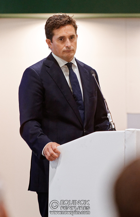London, United Kingdom - 12 September 2019<br /> Johnny Mercer MP, Parliamentary Under-Secretary of State for Defence People and Veterans for the UK Government gives a keynote address speech and answers questions from the audience at DSEI 2019 security, defence and arms fair at ExCeL London exhibition centre.<br /> (photo by: EQUINOXFEATURES.COM)<br /> Picture Data:<br /> Photographer: Equinox Features<br /> Copyright: ©2019 Equinox Licensing Ltd. +443700 780000<br /> Contact: Equinox Features<br /> Date Taken: 20190912<br /> Time Taken: 10211149<br /> www.newspics.com