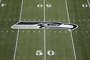 Aug 25, 2017; Seattle, WA, USA; General overall view of Seattle Seahawks logo at CenturyLink Field during a NFL football game against the Kansas City Chiefs.