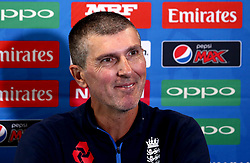 England Women head coach Mark Robinson takes part in a Press Conference ahead of his side's World Cup Group Match against New Zealand Women - Mandatory by-line: Robbie Stephenson/JMP - 11/07/2017 - CRICKET - Bristol County Ground - Bristol, United Kingdom - England v New Zealand - ICC Women's World Cup