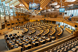 Interior view of debating chamber at Scottish Parliament Building in Holyrood, Edinburgh, Scotland, United Kingdom