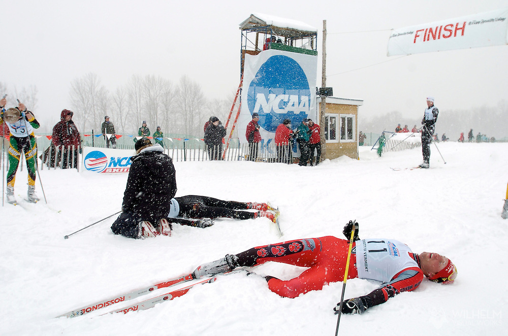12 MAR 2005: Dirk Grimm (11) of the University of New Mexico takes a breather following the freestyle cross country event of the 2005 NCAA Men and Women's Skiing Championships held at Trapp Family Lodge  in Stowe, VT. Grimm placed 10th in  the event. ©Brett Wilhelm/NCAA Photos
