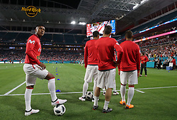 March 23, 2018 - Miami Gardens, Florida, USA - Peru warms up before a FIFA World Cup 2018 preparation match between the Peru National Soccer Team and the Croatia National Soccer Team at the Hard Rock Stadium in Miami Gardens, Florida. (Credit Image: © Mario Houben via ZUMA Wire)