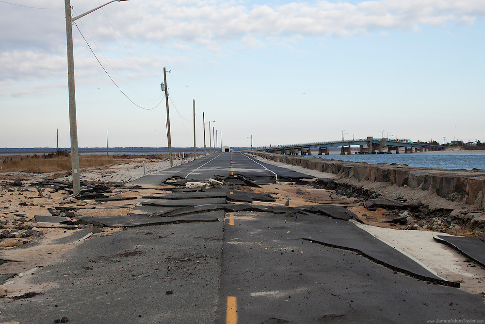 Severely damaged roadway, Ocean Drive, Avalon New Jersey.
