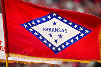 FAYETTEVILLE, AR - NOVEMBER 5:   Flag of the state of Arkansas flies before a game between the South Carolina Gamecocks and the Arkansas Razorbacks at Donald W. Reynolds Stadium on November 5, 2011in Fayetteville, Arkansas.  The Razorbacks defeated the Gamecocks 44 to 28.  (Photo by Wesley Hitt/Getty Images) *** Local Caption ***