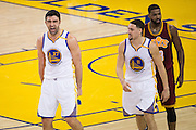Golden State Warriors center Zaza Pachulia (27) celebrates after being fouled by the Cleveland Cavaliers at Oracle Arena in Oakland, Calif., on January 16, 2017. (Stan Olszewski/Special to S.F. Examiner)