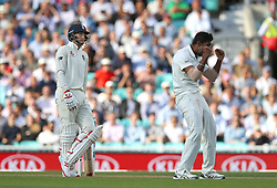 England's Joe Root is given out for a duck after bowling by India's Jasprit Bumrah during the test match at The Kia Oval, London.