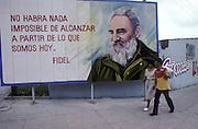 Billboard of propoganda by Fidel Castro. Havana, cuba, 1992