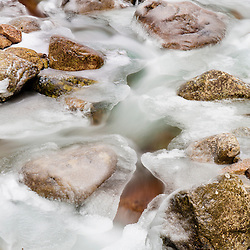 Rocks and ice in the Flume Gorge in New Hampshire's Franconia Notch State Park. White Mountains.