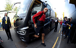 Watford goalkeeper Heurelho Gomes arrives at the Stadium prior to the beginning of the match
