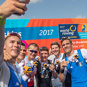 Chris Harris and John Storey New Zealand Mens Double Scull World Champions<br /> <br /> Finals races at the World Championships, Sarasota, Florida, USA Sunday 1st October 2017. Copyright photo © Steve McArthur / Rowing NZ