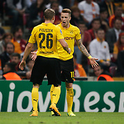 Borussia Dortmund's Marco Reus (R) celebrate his goal with team mate during their UEFA Champions League Group Stage Group D soccer match Galatasaray between Borussia Dortmund at the Ali Sami Yen Spor Kompleksi in Istanbul, Turkey on Wednesday 22 October 2014. Photo by Aykut AKICI/TURKPIX