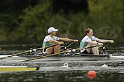 2006 FISA World Cup, Lucerne, SWITZERLAND, 07.07.2006. Lightweight Women's Double Sculls heat,  IRL LW2X ,  Bow [left] Sinead JENNINGS and Niamh NI CHEILLEACHAIR,  Photo  Peter Spurrier/Intersport Images email images@intersport-images.com.[Friday Morning]...[Mandatory Credit Peter Spurrier/Intersport Images... Rowing Course, Lake Rottsee, Lucerne, SWITZERLAND.
