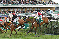National Hunt Horse Racing - 2019 Randox Health Grand National Festival - Friday, Day Two (Ladies Day)<br /> <br /> T J O'Brien on no 17 Doitforthevillage jumps the Water Jump<br /> in the 16:05 Randox Health Topham Handicap Chase (Grade 3) (National Course)) at Aintree Racecourse.<br /> <br /> COLORSPORT/WINSTON BYNORTH