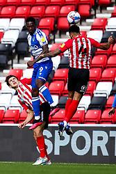 Brandon Hanlan of Bristol Rovers challenges Luke O'Nien and Jordan Willis of Sunderland - Mandatory by-line: Robbie Stephenson/JMP - 12/09/2020 - FOOTBALL - Stadium of Light - Sunderland, England - Sunderland v Bristol Rovers - Sky Bet League One