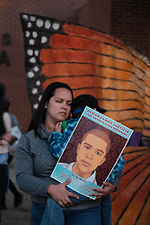 November 21, 2018 - Tucson, Arizona, USA - Protesters turn out onto the street of Tucson after the not guilty verdict in the 2012 shooting of Mexican teen Jose Antonio Elena Rodriguez. Border Patrol agent  Lonnie Swartz shot the teen 16 times through the border fence in Nogales after the boy was allegedly throwing rocks at agents. Instead of retreating for cover like other agents Swartz chose to use deadly force and kill the fleeing Rodriguez . This was the the second trial of Swartz and the aquittal on involuntary manslaughter charges followed a not guilty verdict on federal charges last year. The enraged crowd shut down a busy intersection outside of the courthouse at rush hour. Protesters painted the street with slogans honoring the fallen teen. (Credit Image: © Christopher Brown/ZUMA Wire)