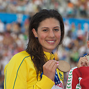 Stephanie Rice of Australia with her bronze medal from the Women's 4 x 100m IM at the World Swimming Championships in Rome, Italy on Sunday, August 2, 2009. Photo Tim Clayton.