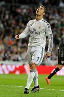 Real Madrid´s Cristiano Ronaldo regrets his performance  during 2014-15 La Liga match between Real Madrid and Malaga at Santiago Bernabeu stadium in Madrid, Spain. April 18, 2015. (ALTERPHOTOS/Luis Fernandez)