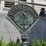 The Babe Ruth Plaza sign outside Yankee Stadium before the New York Yankees V Cincinnati Reds Baseball game at Yankee Stadium, The Bronx, New York. 19th May 2012. Photo Tim Clayton