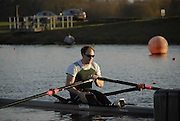 Eton, GREAT BRITAIN,  Peter MARSLAND, M1X, waits at the Start, GB Trials 3rd Winter assessment at,  Eton Rowing Centre, venue for the 2012 Olympic Rowing Regatta, Trials cut short due to weather conditions forecast for the second day Sunday  13/02/2011   [Photo, Karon Phillips/Intersport-images]