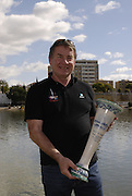 Seville. SPAIN, 18.02.2007, GB Rowing, chief coach Jurgan GROBLER hold the trophy for team gaining the most point throgh out the two day  FISA Team Cup regatta, held on the River Guadalquiver course. [Photo Peter Spurrier/Intersport Images]    [Mandatory Credit, Peter Spurier/ Intersport Images]. , Rowing Course: Rio Guadalquiver Rowing Course, Seville, SPAIN,