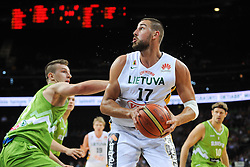 Jonas VALANCIUNAS of Lithuania  during friendly match between National Teams of Slovenia and Lithuania before World Championship Spain 2014 on August 18, 2014 in Kaunas, Lithuania. Photo by Robertas Dackus / Sportida.com