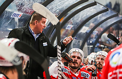 04.04.2014, Eisarena, Salzburg, AUT, EBEL, EC Red Bull Salzburg vs HCB Suedtirol, Finale, best of five, 1. Spiel, im Bild Tom Pokel, (HCB Suedtirol, Trainer) // during the 1st match of the final best of five round of the the Erste Bank Icehockey League Playoff between EC Red Bull Salzburg and HCB Suedtirol at the Eisarena in Salzburg, Austria on 2014/04/04. EXPA Pictures © 2014, PhotoCredit: EXPA/ Roland Hackl