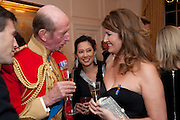 THE DUKE OF KENT; SHEILA MACKINTOSH; ALEXA JAGO;  Charity Dinner in aid of Caring for Courage The Royal Scots Dragoon Guards Afganistan Welfare Appeal. In the presence of the Duke of Kent. The Royal Hospital, Chaelsea. London. 20 October 2011. <br /> <br />  , -DO NOT ARCHIVE-© Copyright Photograph by Dafydd Jones. 248 Clapham Rd. London SW9 0PZ. Tel 0207 820 0771. www.dafjones.com.