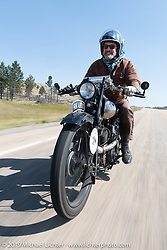 The Vintangent's Paul D'Orleans riding one of Bryan Bossier's 1925 Brough Superior SS100's during the Motorcycle Cannonball coast to coast vintage run. Stage 10 (299 miles) from Sturgis, SD to Billings, MT. Tuesday September 18, 2018. Photography ©2018 Michael Lichter.