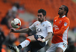 Alan Sheehan of Luton Town (L) and Nathan Delfouneso of Blackpool in action - Mandatory by-line: Jack Phillips/JMP - 14/05/2017 - FOOTBALL - Bloomfield Road - Blackpool, England - Blackpool v Luton Town - Football League 2 Play-off Semi Final Leg 1