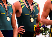 Atlanta, USA.   AUS M4- [Awesome Foursome] Gold Medalist.  Bow. Drew GINN, James TOMKINS,  Nick GREEN,  Mike McKAY. Gold Medalist. 1996 Olympic Rowing Regatta Lake Lanier, Georgia [Mandatory Credit Peter Spurrier/ Intersport Images]