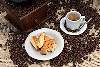 Espresso Coffee and italian Biscotti with Almonds and Walnuts